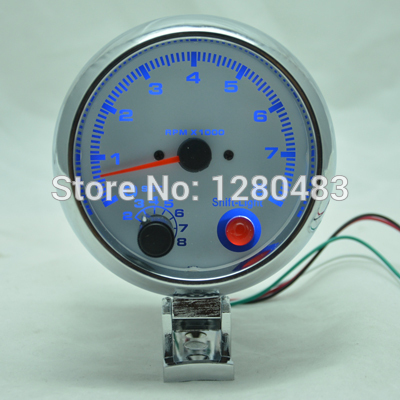 3.75 inch WHITE light LED Tachometer gauge RPM car auto meter EL gauge 8000 free shipping(China (Mainland))