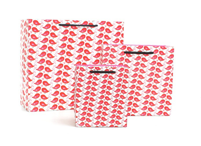 Free Shipping 12pcs/lot Large Size 30.5x12x27cm Gift Packaging Bags Fashion Red Birds Hand Length Handle Bags(China (Mainland))