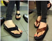 Hot sale 2014 new fashion summer sequins flip-flops high wedges cool beach lady slippers paillette platform women's sandals