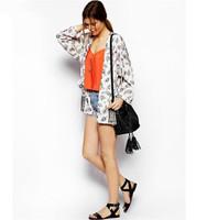 2014 New Women's Fashion Print Blouses & Shirts Long-sleeve No Button Kimono For Women Casual Ladies Elegant Brand Tops Blusa