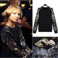 2015 autumn new star long-sleeve luxury sequins beads wholesale women's plus sizesweatshirt free shipping