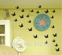 Black 12pcs(6pcs Big+6pcs Small) New fashion 3D stereo pvc butterfly wall stickers home decor wall decals
