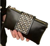 clutch Simple Fashion PU Leather Handbag Rivet Lady Clutch women's bags Wallet Evening Bag Small