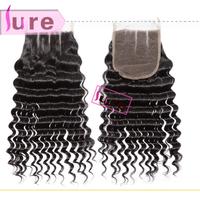 Queen hair products Brazilian virgin hair deep wave 3 way part lace closure ,size 5*5 bleached knots swiss cheap closures