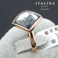 Italina Rigant Jewelry Gold Plated Fashion Grey Austrian Crystal Square Charm Ring for Women Party