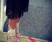 Designer high heel sandal bootie summer women gladiator boots spike rope criss cross sandals ankle wrap dress shoes