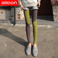 Amoon / Women 2014 New Spring Autumn Casual Patchwork Cotton Ankle Leggings/ Army Green 2 Colors 2 Size
