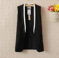 Spring New 2014 Fashion Brand Women Clothing Patchwork V-Neck Long Vest Women Top Quality Celebrity Blazer Vests Coat in Stock