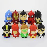 Retail Cartoon mix JLA & Avengers Super Hero shape USB Flash Drive Pen Drive Memory Stick Pendrive Bulk Cheap Free Shipping