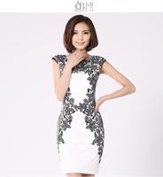 2014 women New Stretch Flower Print   Short Sleeve Dress Women Slim Over Hip above knee length  Dresses Summer Fashion   #C0575