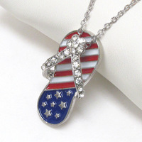 Tops 2014! Fashion America Flag Alloy Rhinestone Sandle Pendant Necklace Free Shipping Via express nxy037