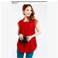 2014 cool lace chiffon shirt plus size clothing summer mm top short sleeve length