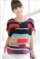 2014 women blouse shirt Multi colour print Stripe Loose Short Sleeve Chiffon Shirt Brand casual plus size summer blouse  #C0531