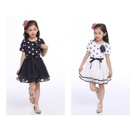 Free Shipping 2014 Summer Children's Clothing Fashion Dot Bow Chiffon Girls Dress
