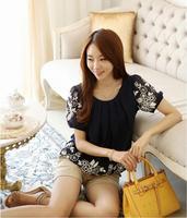 2014 Korea Summer women  loose short  sleeve  women's floral print  slim chiffon  blouse & shirt   fit for fat girls   #C0652