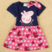 Free Shipping 2014 New Arrival Children Dress Peppa Pig Girl Dress Cotton Girl's Summer Dress Sweet Style Girl's Summer Clothing