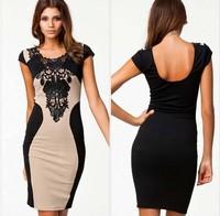 2014 Autumn new fashion lady Elegant Embroidery Bodycon lace Patchwork  o neck short sleeve Casual  Bandage Dress   #C0678