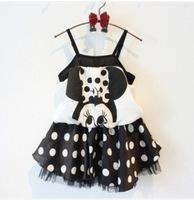 new 2014 summer  Korean version of mickey harness dress for girls, children dot dress