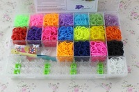 2014 hot selling  transparent rubber loom bands kit with 4400 bands