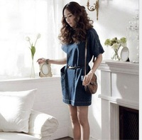 2014 Short Sleeve Knee Length  Loose Brief  Casual Vintage Demin Jeans Cotton Elegant Dress Tunic Women Girl    #C0651
