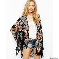 2014 Women's Flower Print Long Blouses Long sleeve No Button Sunscreen Kimono With Tassel For Women Ladies Brand Hollow Out Tops