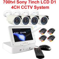 700tvl sony Mini DVR System 4CH HDMI H.264 DVR 7 inch monitor + 4pcs 700TVL sony Camera security kit