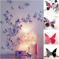 30 pcs Small size Multi-colors 3D Mirror wall stickers 2014 new butterfly wall decals decor free shipping