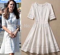 ladies dress Princess Kate same style dress with a white star Slim models fold hollow cotton jacquard DRESS pumping D14