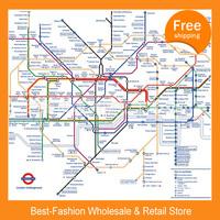 Free shipping 50pcs/lot ,Subway map terylene shower curtain thickening waterproof bathroom curtain London fashion family geek