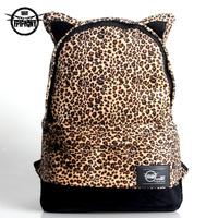 Brand Design 2014 Nylon Plush Leopard Print  School Bags Women's Backpacks Men Travel Bags Lovers Laptop Bag New Fashion Sale
