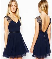 New 2014 Summer Casual Dress European Exclusive Sexy Lace Halter Chiffon Dress Sleeveless Vest Women Dress Free Shipping LBR002
