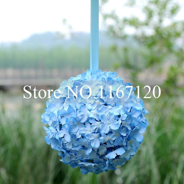 Free shipping,4pcs/lot New Style 9'' Blue Artificial Silk Hydrangea flower Kissing Ball Silk Wedding Flowers Decorations(HQ17)(China (Mainland))