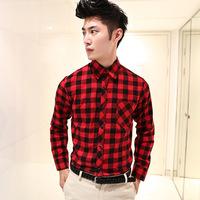 2014 Man Spring autumn new men's cotton long-sleeved plaid Slim shirt male casual long-sleeve shirt