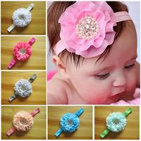 2014 wholesale newborn headbands chiffon flowers with pearl rhinestone beaded headband baby girls hair accessories 100pcs/lot