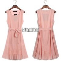 2014 Hot Selling Korea Women's Elegance Bow Pleated Vest Chiffon Dress Round Collar Sleeveless Dress Free Shipping B6 SV001281