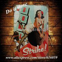 [ Do it ] BOWL STRIKE Tin sign Wholesale Vintage Bar Metal House Cafe Decor 20*30 CM B-136