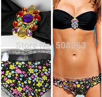 Hot Sale 2014 Sexy Print Diamond Bikinis Set Bikini Push Up Bandage Beach Swimwear Women Swimsuit Trikini Bathing Suit BK47