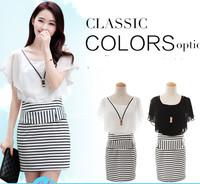 NEW 2014 summer new Korean Women OL striped dress sexy stripe  package hip Slim short-sleeved chiffon dress plus size