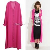 2014new women bohemian maxi length cardigan chiffon full dress beach cover up casual dress trench pink,white,black,blue