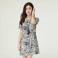 Summer women's 2014 o-neck short-sleeve cotton fluid print pullover loose one-piece dress medium