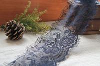 Handmade diy clothes accessories filament yarn black eyelash gauze mesh embroidery lace trim 9cm