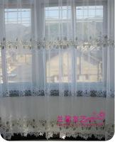 Fresh white flower curtain window screening balcony sheer gauze curtains  Width 1 meter,Height 2.7Meter