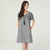 2014 women's Summer  short-sleeve o-neck pullover loose fluid one-piece dress