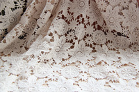 DIY 100% cotton embroidery flower curtain lace beige water soluble lace trim diy handmade lace fabric wide 1.3m