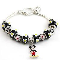 Alibaba Express Hot Sell European Style 925 Silver Charm Bracelet Women with Lampwork Glass Beads Fashion Jewelry PA1293