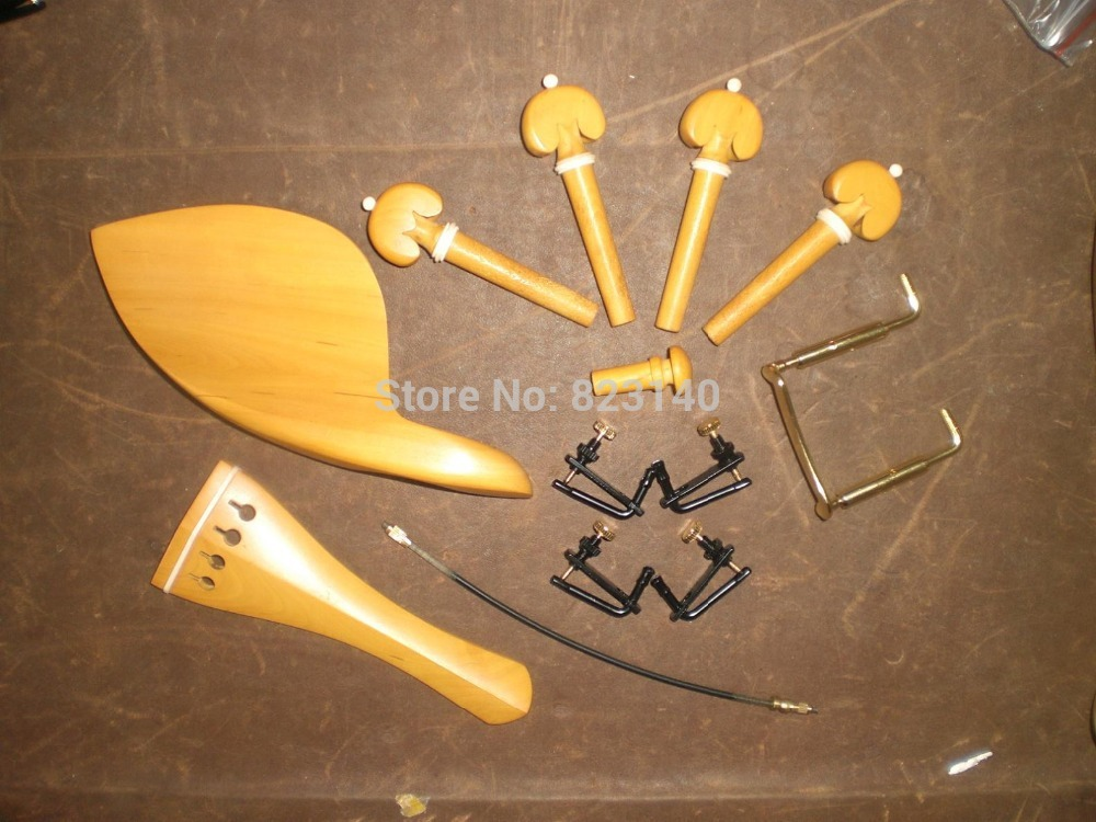 1 set Boxwood bone ring Violin parts 4 4 with string adjuster chin rest screw tail