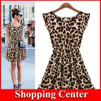 Freeshipping European style brand fashion Leopard slim pinched waist Dress Spring summer fall women lady wear free Drop shipping
