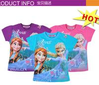 Free shipping 2014 New design Frozen Elsa and Anna girl girls short sleeve t shirt top tees shirts PETELULU