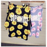 Hot Sale Brand Harajuku Tshirt For Women Sun Flower Printed Crop Top Fashion Girl Short Shirt Zipper Tops Tees BTZ053-50
