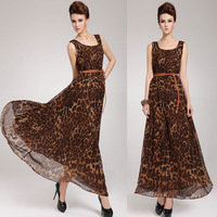 2014 plus size slim formal dress leopard print one-piece dress spaghetti strap bohemia full dress with belt long party
